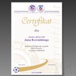 Projekt i wydruk certyfikatu dla WDA FUTBOL BUSINESS CLUB ŚWIECIE